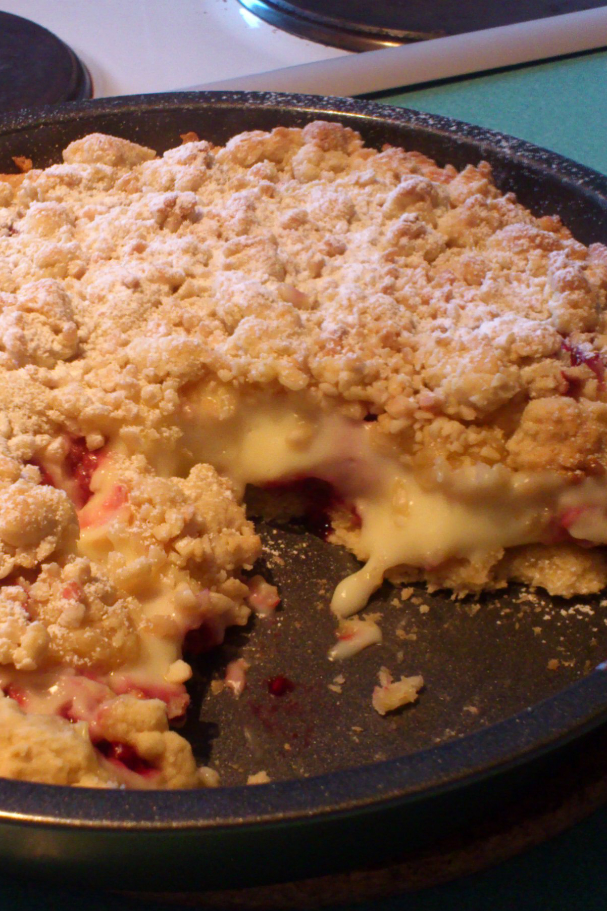Himbeer-Crumble-Tarte mit Pudding