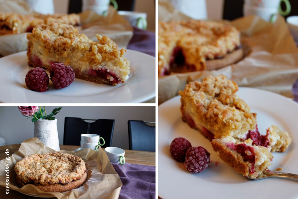 Quarkkuchen mit Kokos-Crumble & Himbeeren